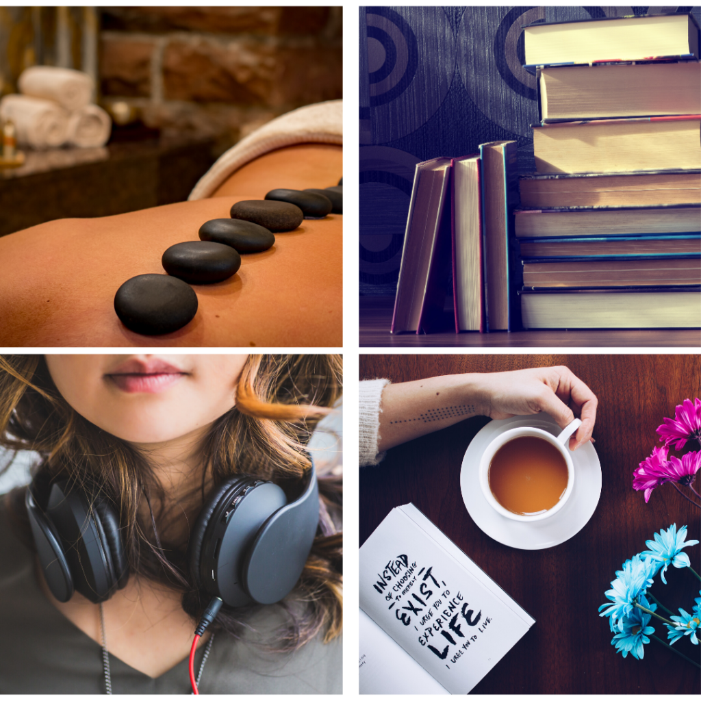 Images of massage, books, headphones, tea and a planner - as gift ideas for holidasy