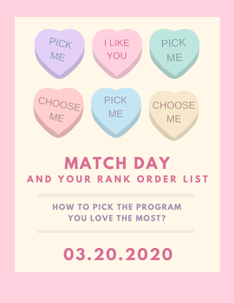 "Images of Valentine's candies with ""pick me"" and ""choose me"" with text Match Day and Your Rank order List"
