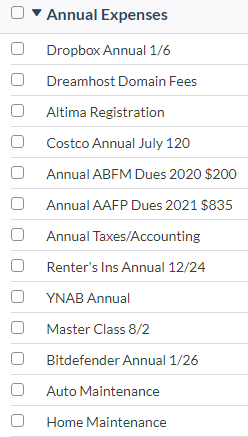 YNAB Budget Category - Annual Expenses