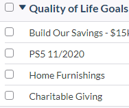 YNAB Budget Category - Quality of Life Goals