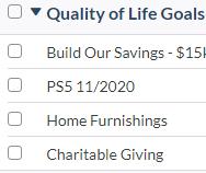 YNAB Budget Category - Quality of Life Goals