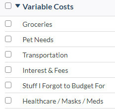 YNAB Budget Category - Variable Costs